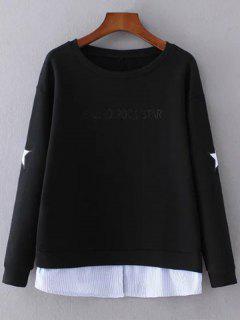 Star Pattern Layered Hem Sweatshirt - Black S
