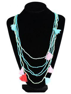 Multilayer Beaded Tassel Necklace - Green