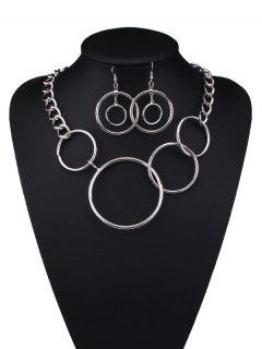 Alloy Hollow Out Circle Jewelry Set - Silver