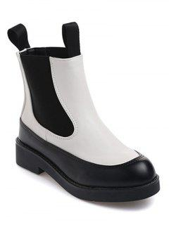Elastic Band PU Leather Platform Ankle Boots - White And Black 38