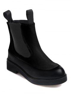 Elastic Band PU Leather Platform Ankle Boots - Black 38