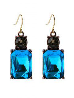 Square Faux Crystal Rhinestone Drop Earrings - Blue