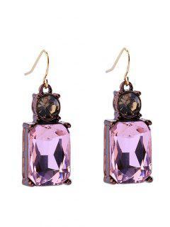 Square Faux Crystal Rhinestone Drop Earrings - Pink