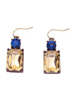Square Faux Crystal Rhinestone Drop Earrings - Champagne Gold
