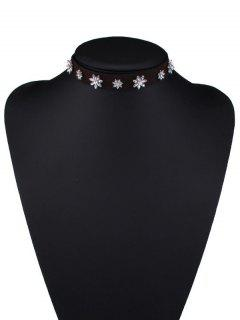 Faux Leather Rhinestone Flower Choker Necklace - Brown