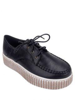 Engraving Stitching Tie Up Platform Shoes - Black 38