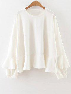 Manga Con Volantes Camiseta Larga - Blanco S