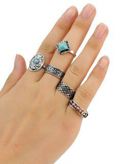 5 PCS Turquoise Geometry Retro Rings - Silver