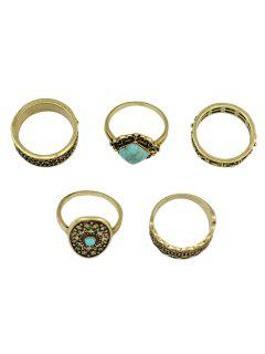 5 PCS Turquoise Geometry Retro Rings - Golden