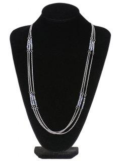 Three Layers Bead Necklace - Silver