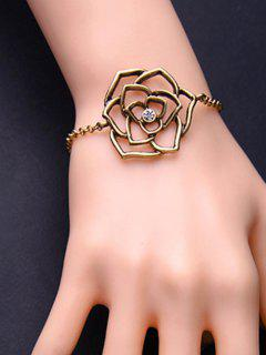 Metal Flower Adjustable Filigree Charm Bracelet - Copper Color