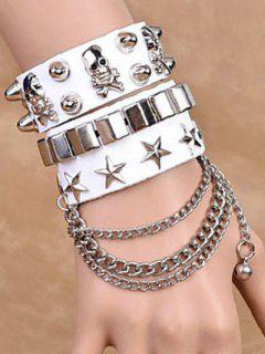 Chaînes Étoile Skull Rivet Bracelets Doubles - Blanc