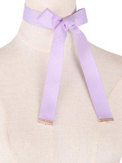 Bowknot Lace Up Ribbon Chokers - Light Purple