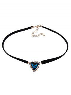 Faux Gem Velvet Triangle Choker - Blue