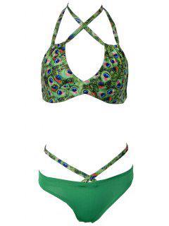 Peacock Imprimer Strappy Bikini - Vert S