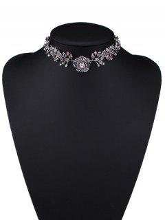 Strass Faux Perle Rose Feuille Choker -