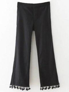 Cropped Flare Trousers - Black S