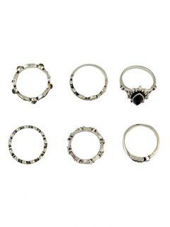 6 PCS Faux Gem Leaf Retro Rings - Silver