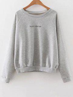 Raglan Sleeve Lettering Sweatshirt - Gray M