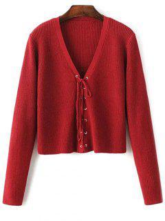 Ate Para Arriba Cuello En V Suéter - Vino Rojo