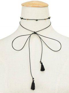 Faux Leather Rope Tassel Bowknot Choker - Black