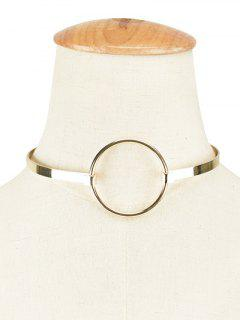 Alloy Hollow Out Round Choker Necklace - Golden