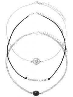 Alloy Engraved Sun Oval Beaded Chokers - Silver