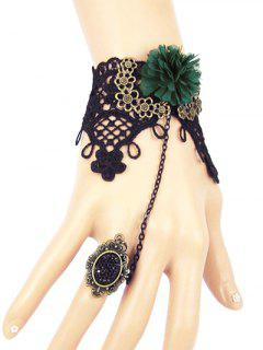 Flower Lace Slave Bracelet - Black