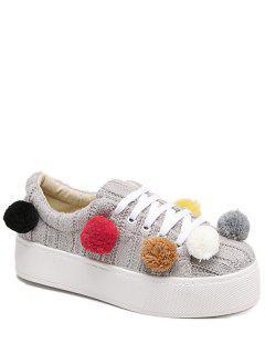 Pompoms Tie Up Knitting Platform Shoes - Light Gray 38