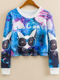 Cartoon Cat Print Crew Neck Sweatshirt - M