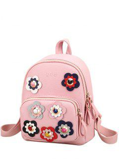 Flowers Color Block Rivets Backpack - Pink