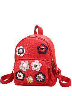 Flowers Color Block Rivets Backpack - Red