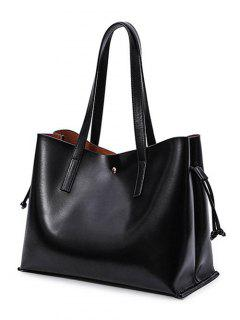 Drawstring Magnetic Closure PU Leather Shoulder Bag - Black