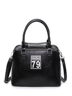 Figure Pattern PU Leather Zipper Tote Bag - Black