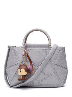 Geometric Pattern PU Leather Metal Tote Bag - Gray