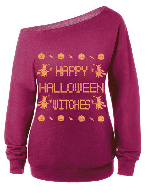 Sweat-shirt Encolure Cloutée Halloween Imprimé Message - Violacé rouge M Mobile