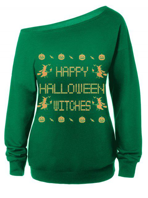 Sweat-shirt Encolure Cloutée Halloween Imprimé Message - Vert S Mobile