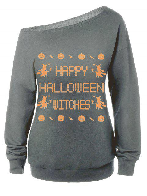Sweat-shirt Encolure Cloutée Halloween Imprimé Message - gris L Mobile