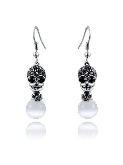 lady Faux Opal Rhinestoned Skull Flower Earrings -   Mobile