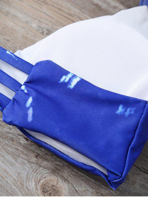 fancy Strappy Tie-Dye Bikini Set - DEEP BLUE S Mobile