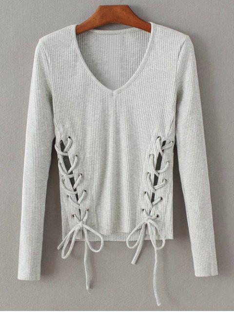 lady Grommet Lace Up Ribbed Jumper - GRAY S Mobile