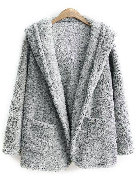 womens Hooded Fleece Coat - GRAY ONE SIZE Mobile