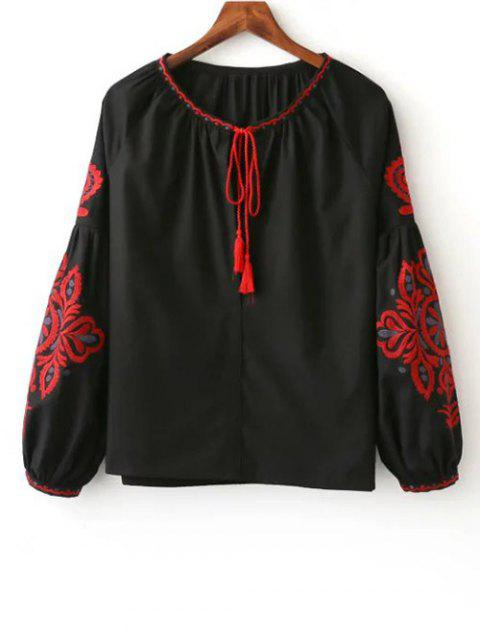 hot Embroidered Long Sleeve Smock Blouse - BLACK L Mobile