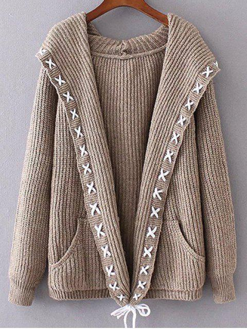 womens Hooded Cable Knit Cardigan - KHAKI ONE SIZE Mobile