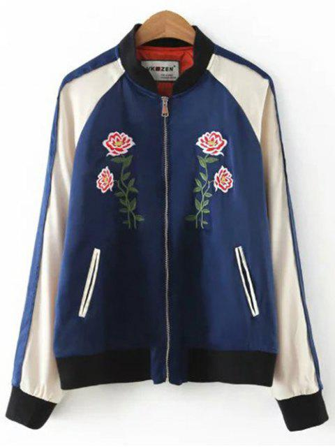 fashion Floral Letter Embroidered Bomber Jacket - BLUE L Mobile