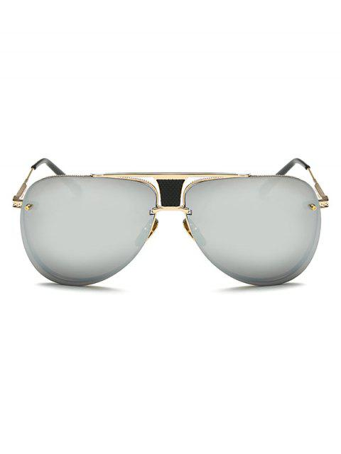 lady Trapezoid Hollow Out Pilot Mirrored Sunglasses -   Mobile