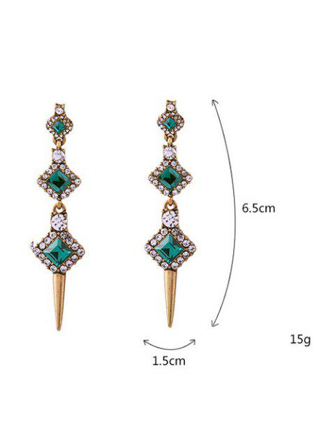 latest Rhinestone Faux Crystal Turquoise Stud Earrings - GREEN  Mobile