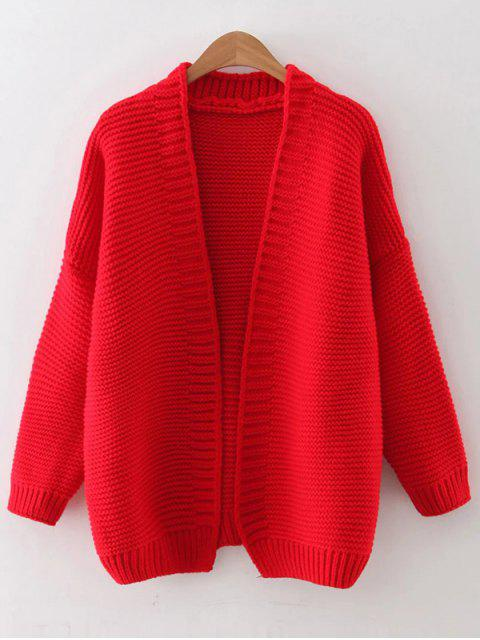 outfit Drop Shoulder Open Cardigan - RED ONE SIZE Mobile