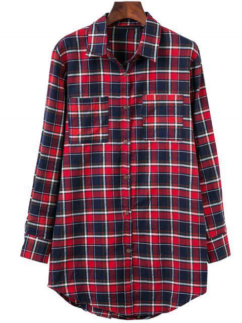 online Plaid Oversized Shirt - COLORMIX M Mobile