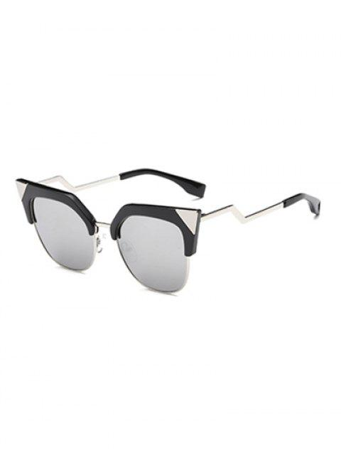 affordable Triangle Zigzag Leg Cat Eye Mirrored Sunglasses - SILVER  Mobile